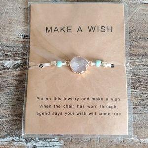 Make a wish real druzy quartz bracelet